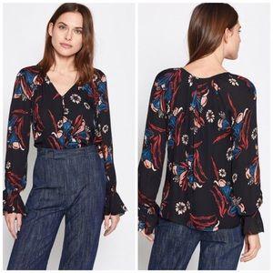 Joie Boyana Silk Floral Long Sleeve Ruffle Blouse